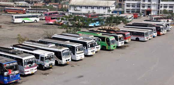 A largely deserted bus depot in Guwahati during the second day of strike called by central unions
