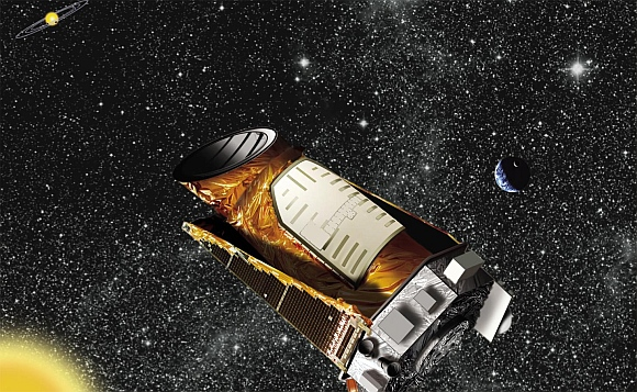 This artist's concept shows the Kepler spacecraft