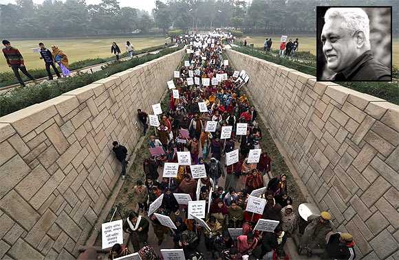 Women carrying placards enter Rajghat to attend a prayer ceremony for the gang-rape victim. Inset: Professor Shiv Visvanathan