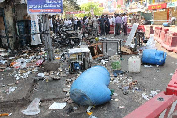 The site of the twin blasts at Dilsukhnagar in Hyderabad, a day after