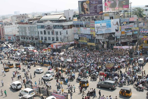 A huge crowd has gathered at the blast site in Hyderabad on Friday