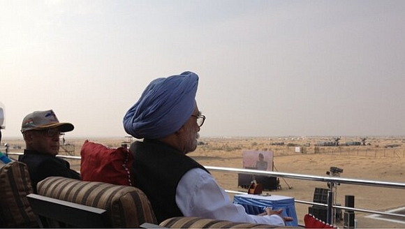 President Pranab Mukherjee and Prime Minister Manmohan Singh at IronFist 2013