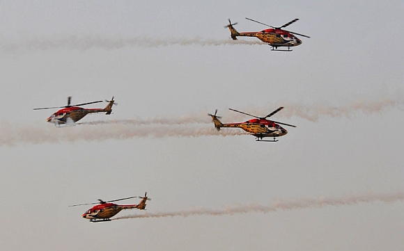 The Sarang Helicopter team performing during the exercise