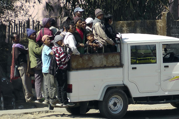 Locals take a ride in Mawkyrwat, Meghalaya.