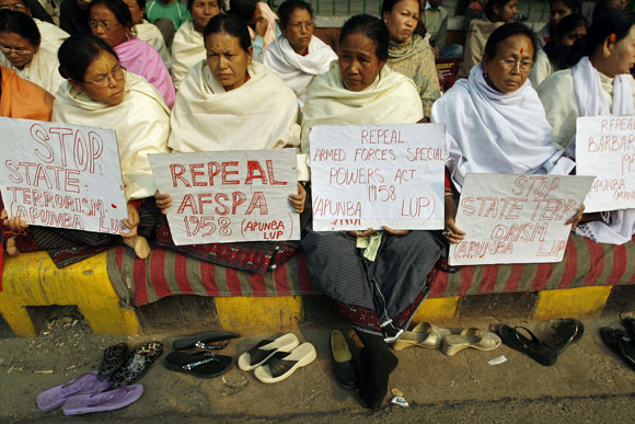 Manipuri women protest against AFSPA in New Delhi in 2008.