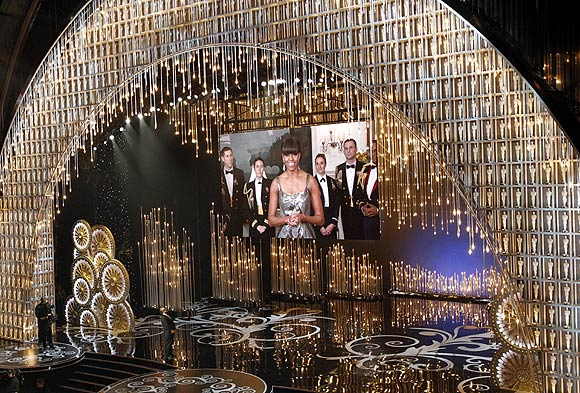 US First Lady Michelle Obama announces the winner of the best picture Oscar via video link at the 85th Academy Awards in Hollywood