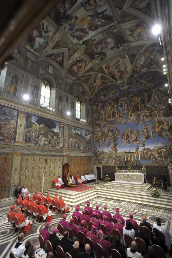 Pope Benedict XVI conduct Vespers in the Sistine Chapel at the Vatican.