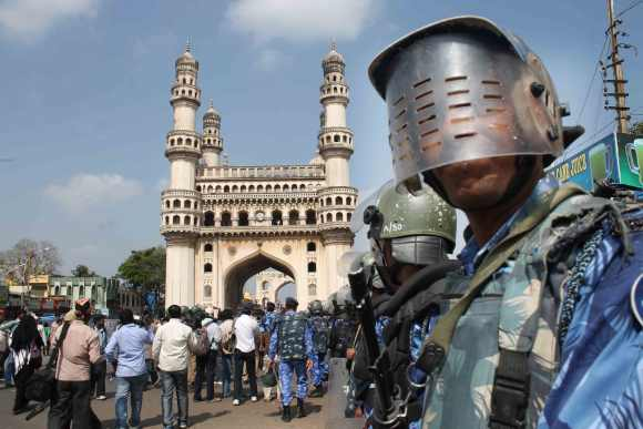 Security has been beefed up near Charminar following the controversy over the temple