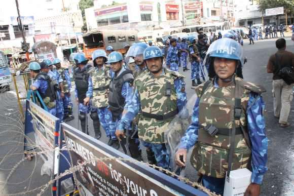 RAF forces deployed in Hyderabad during the recent communal disturbances