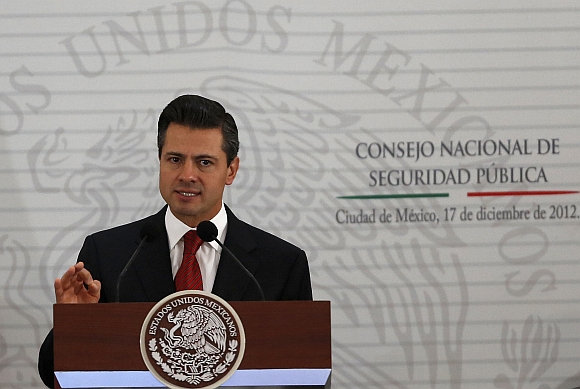Mexico's President Enrique Pena Nieto delivers a speech during the II Extraodinary Session of the National Council of Public Security in Mexico City