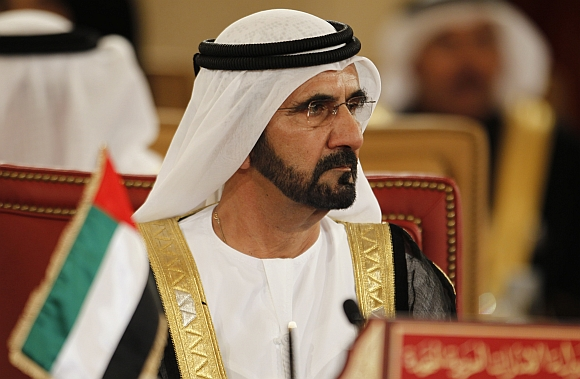 Prime Minister of UAE Sheikh Mohammed bin Rashid al Maqtoom attends the GCC Summit at Sakhir Palace in Sakhir, south of Manama, Bahrain
