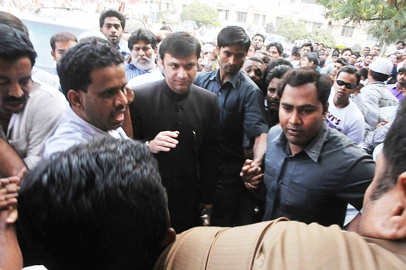 Majlis-e-Ittehadul Muslimeen MLA Akbaruddin Owaisi being arrested by the police