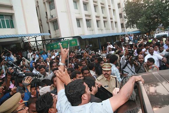 Majlis-e-Ittehadul Muslimeen MLA Akbaruddin Owaisi being taken into custody