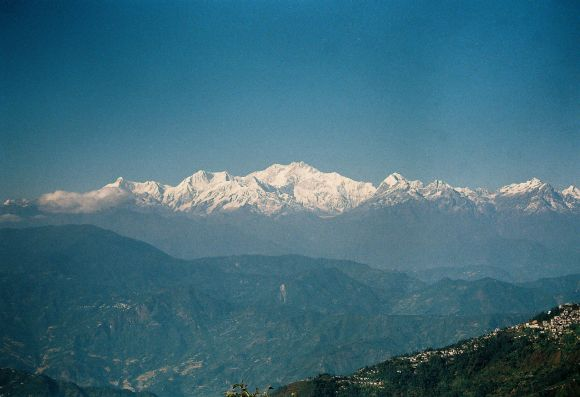 A view of snow-clad Mt Kanchenjunga from Darjeeling