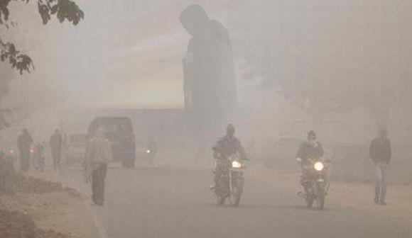 Dense fog during a cold morning in Jaipur