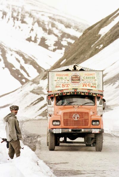 An Indian Army truck going through Ghumri on its way to Kargil