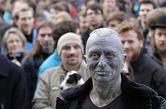Vladimir Franz attends a rally in Prague
