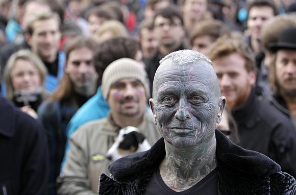 Vladimir Franz attends a rally in Prague