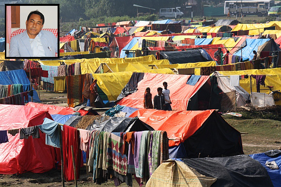 A bird's eye view of a Muslim relief camp. (inset) Deputy Chief of the Bodoland Territorial Council government Kampa Borgoyari