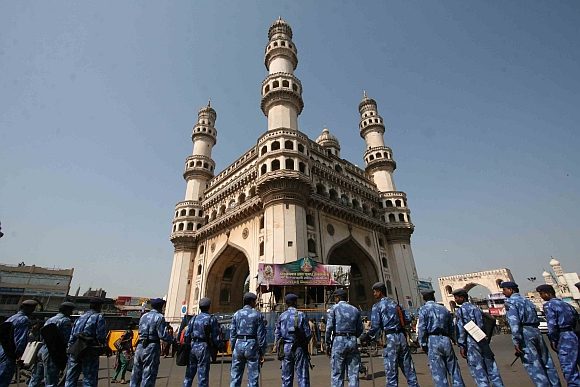 RAF personnel stand guard at the Charminar