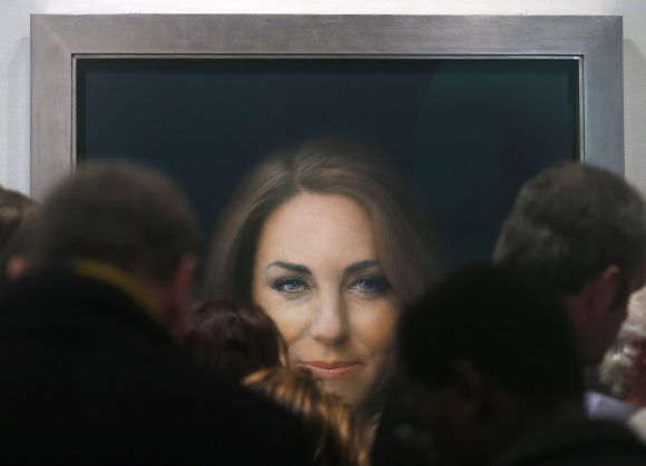 A newly-commissioned official painting of Catherine, Duchess of Cambridge is seen at the National Portrait Gallery in London