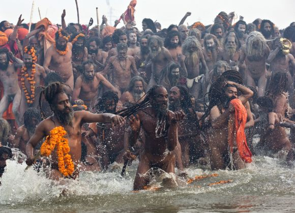 Naga sadhus attend the first