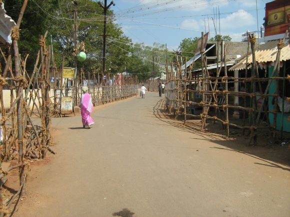 The barricaded running space for the bulls at Alanganallur