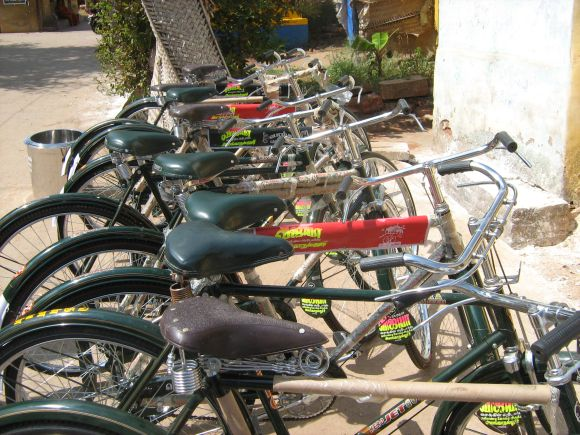Bicycles to be given as prizes lined up at the venue
