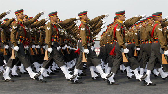 The Army Day parade in New Delhi.