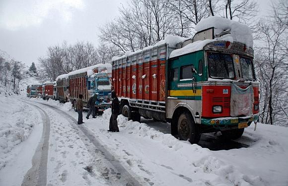Stranded trucks at the Srinagar-Jammu highway