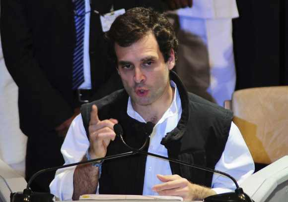 Rahul Gandhi speaks during AICC meeting in Jaipur