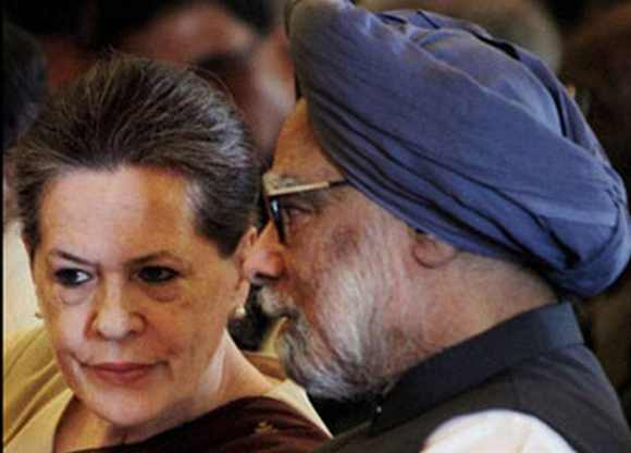 Congress President Sonia Gandhi with Dr Singh