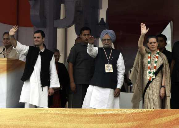 Congress Vice President Rahul Gandhi with Dr Singh and Sonia Gandhi