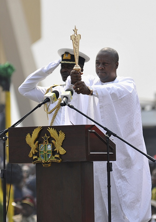 Ghanaian President John Dramani Mahama takes the oath during his inauguration ceremony at the Independence Square in Accra