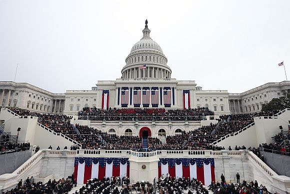 People attend the presidential inauguration