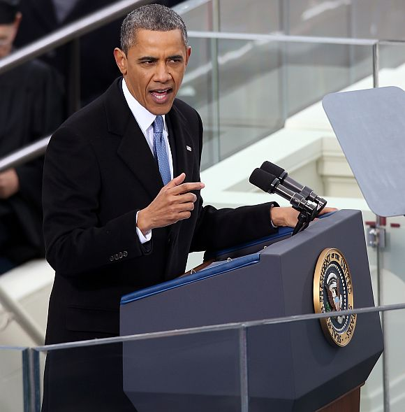 Obama speaks during the presidential inauguration on the West Front of the US Capitol