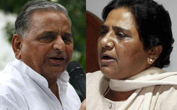 Samajwadi Party chief Mulayam Singh Yadav, left, and Bahujan Samaj Party supremo Mayawati