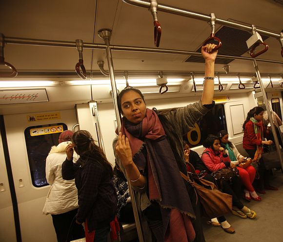 Simrat travels in the women's compartment of a metro in New Delhi