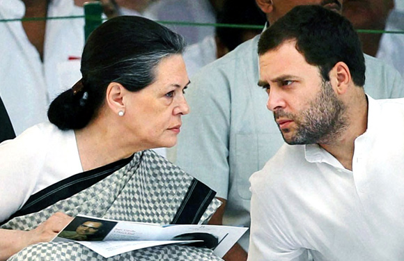 Congress chief Sonia Gandhi interacts with Ra