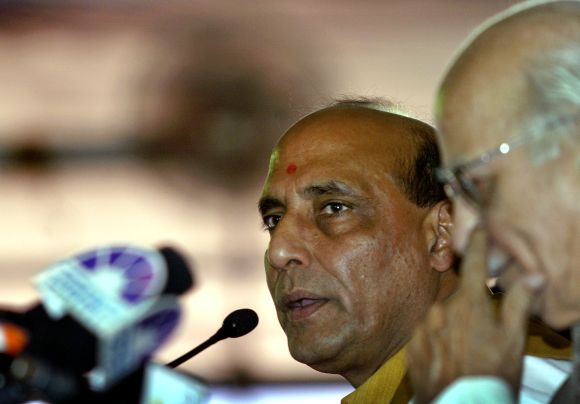 Rajnath Singh with senior BJP leader L K Advani
