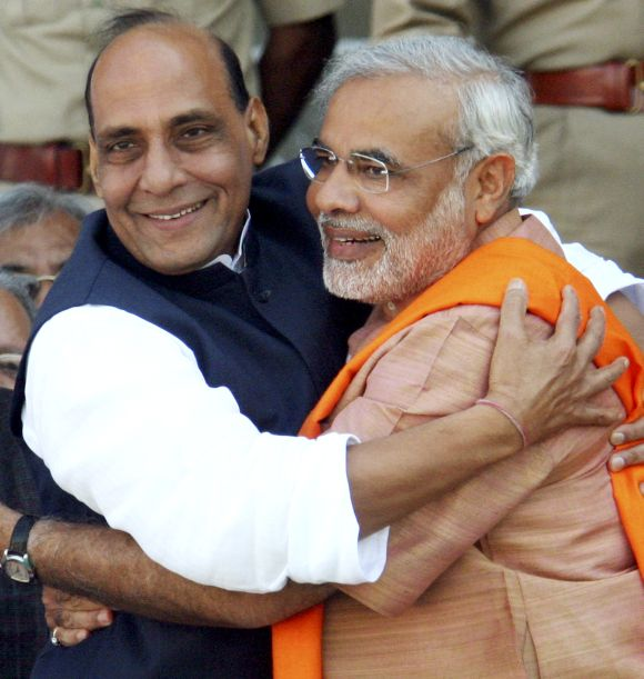 Rajnath Singh with Gujarat Chief Minister Narendra Modi