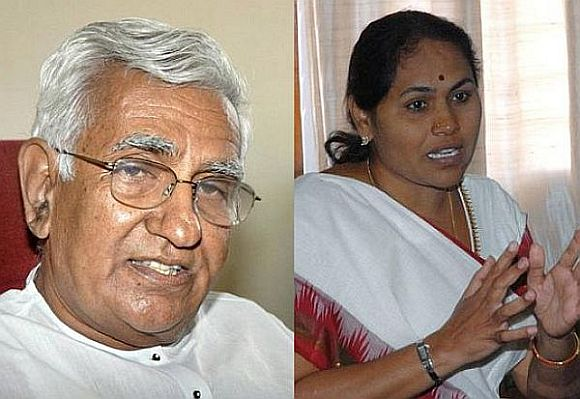 (Left) Public Works Minister C M Udasi and (Right) Energy Minister Shobha Karandlaje quit today