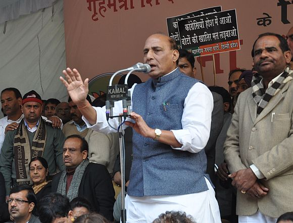 BJP President Rajnath Singh addressing the protest meet at Jantar Mantar