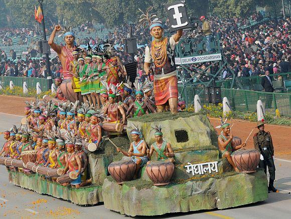 The tableau of Meghalaya on the theme 'Hundred Drums Wangala Festival'