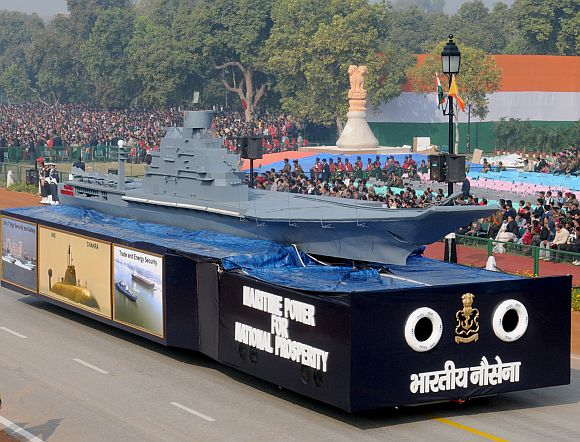 The tableau of Indian Navy passes through the Rajpath