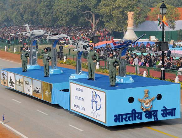 The tableau of Indian Air Force passes through the Rajpath