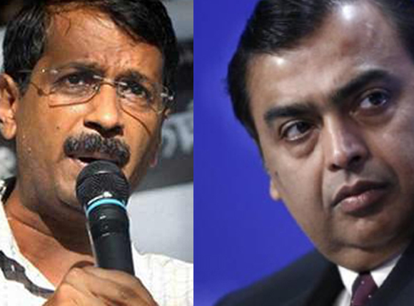 Arvind Kejriwal, left; Mukesh Ambani, right