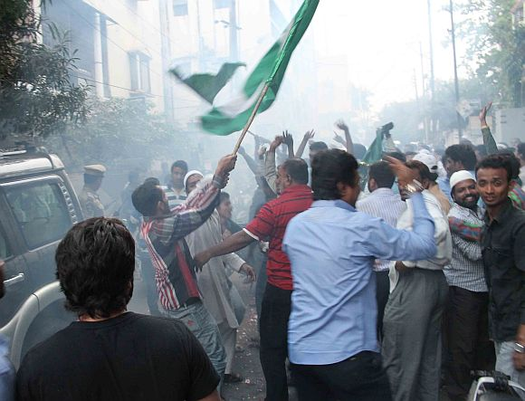 MIM activists celebrate in Hyderabad
