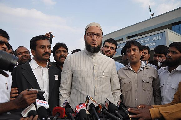 Asaduddin Owaisi talking to media persons outside the jail