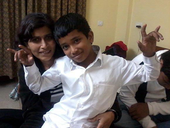 Devansh with his mother